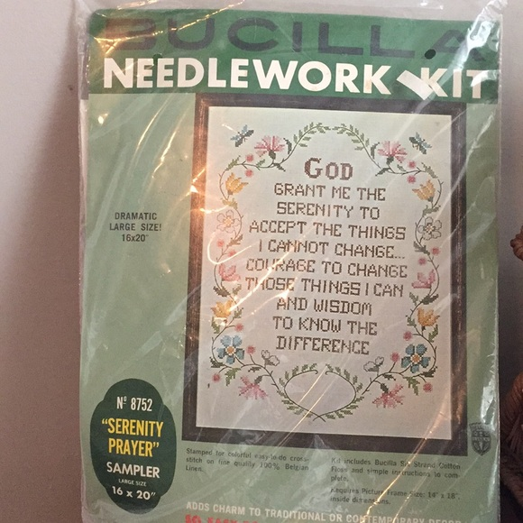 New unopened stamped cross stitch Serenity Prayer